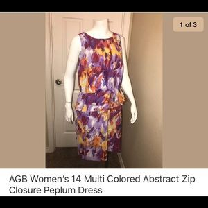 AGB Size 14 Multi Colored Peplum Dress